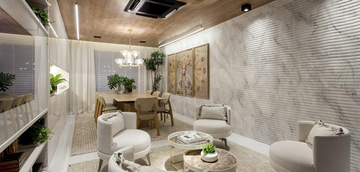 Sala de Jantar, de Adelia Estevez, apresenta Rigatto Calacatta na Mostra Casas Conceito